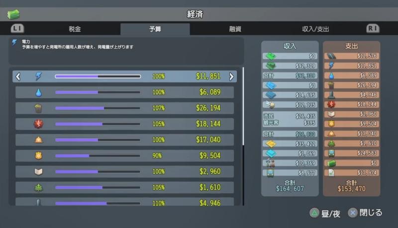 夜の予算(下半分)【シティーズ:スカイライン PlayStation4 Edition】