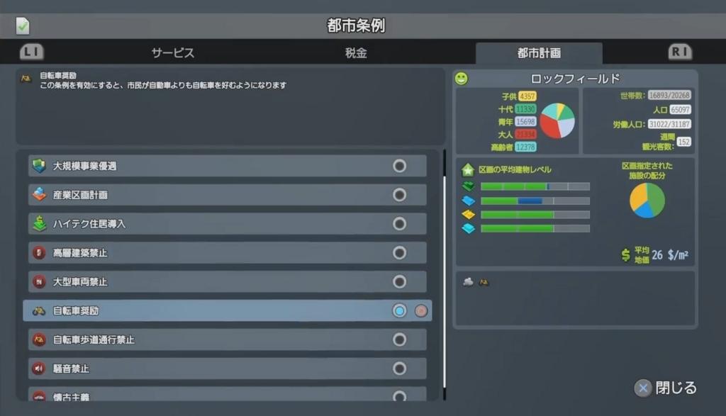 条例設定画面(都市計画)【シティーズ:スカイライン PlayStation4 Edition】