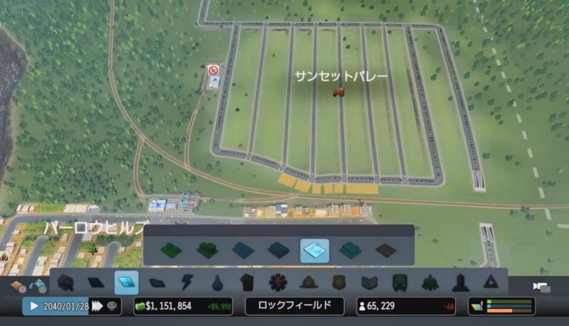 新しく作成した農業特区を俯瞰で見た様子【シティーズ:スカイライン PlayStation4 Edition】