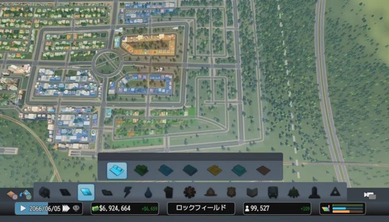 新しい地区の産業区の割り振り方を考えるために、俯瞰視点で道路を見ている様子【シティーズ:スカイライン PlayStation4 Edition】