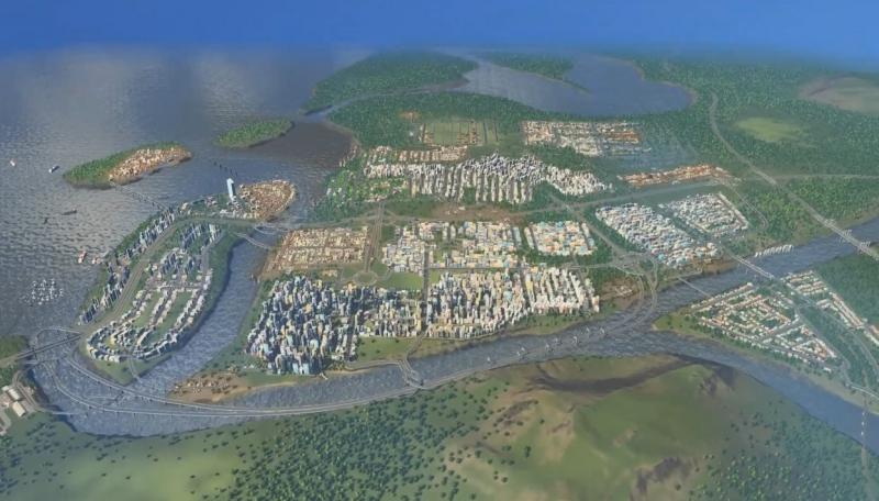 人口10万人に到達した都市の全景【シティーズ:スカイライン PlayStation4 Edition】
