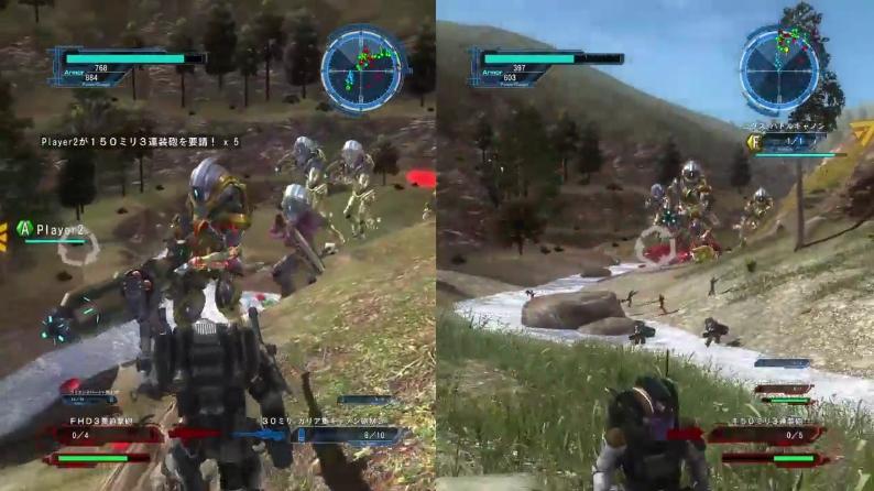 [ミッション79. ベース228奪還作戦 第一段階]重武装コスモノーツが山岳地帯を進んでいる様子【地球防衛軍5】
