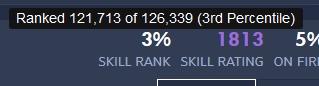 SKILL RANKの数値にマウスカーソルを合わせると、具体的な順位と全体数が確認できる【Overbuff】