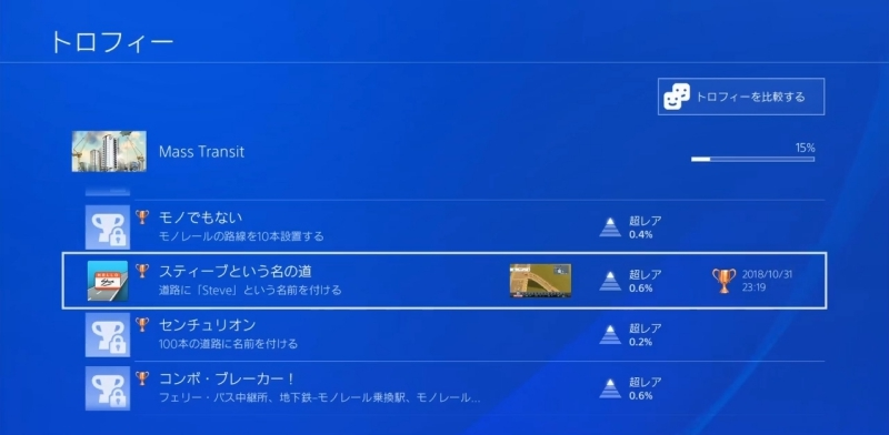 トロフィー:スティーブという名の道【シティーズ:スカイライン PlayStation4 Edition】