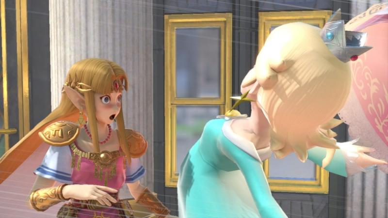 胸から飛んできたロゼッタに赤面するゼルダ姫【スマブラSP】