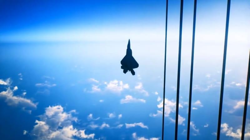 軌道エレベーターに沿って成層圏近くまで上昇したところ【エースコンバット7】