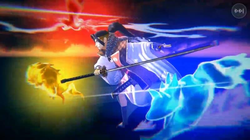 桃太郎のスペシャルスキル「反魂四光斬」を発動した時のカットシーンの一部【リボルバーズエイト】