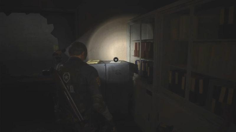 警察署2階 待合室の金庫のヒント場所(現場)【バイオハザードRE:2】