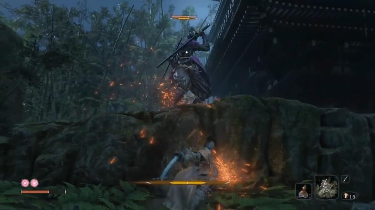 平田屋敷の三重の塔の前にいる片腕の忍び【SEKIRO】