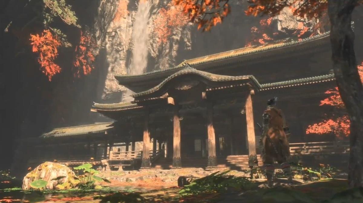 """紅葉に彩られる切り立つ山に建立された""""金剛山 仙峯寺""""【SEKIRO】"""