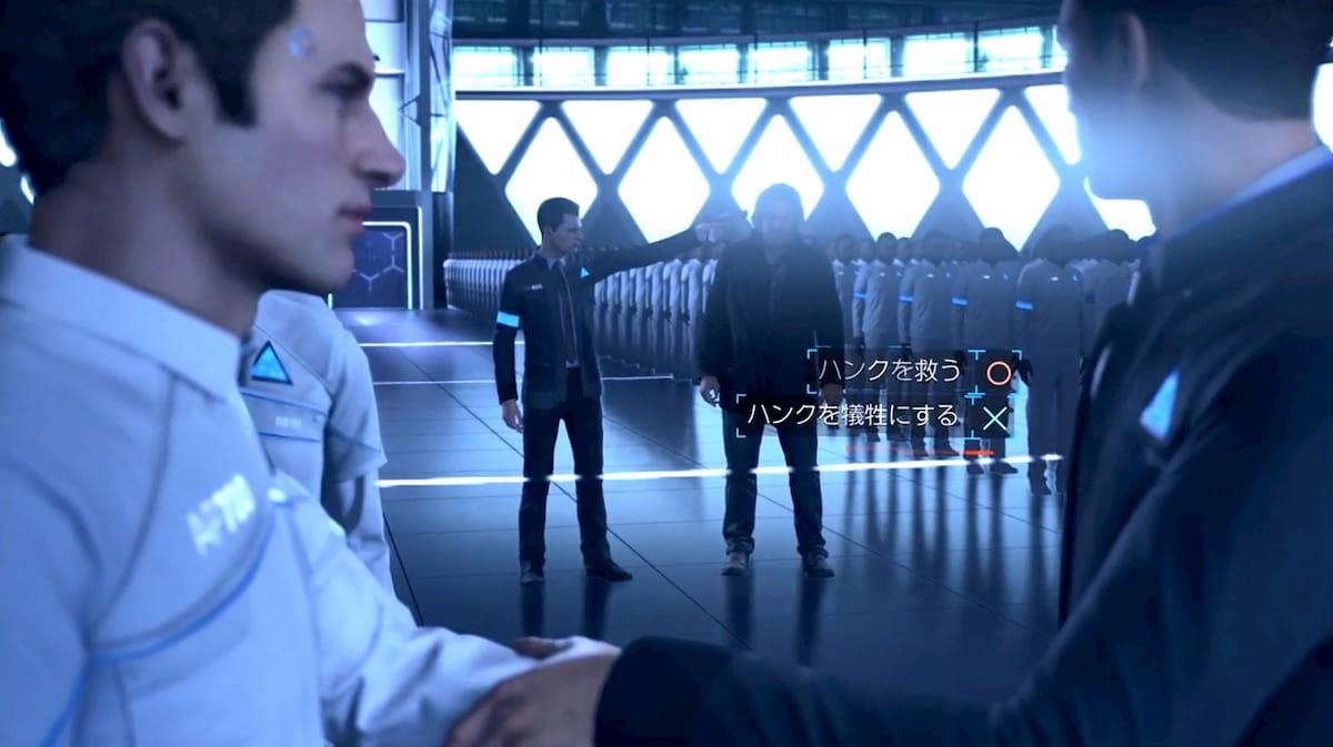サイバーライフの倉庫内にて、ハンクを救うか犠牲にするか選択するシーン【Detroit: Become Human】