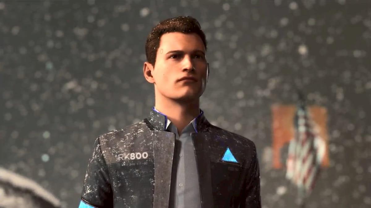 神妙な面持ちで吹雪の中に佇むコナー【Detroit: Become Human】