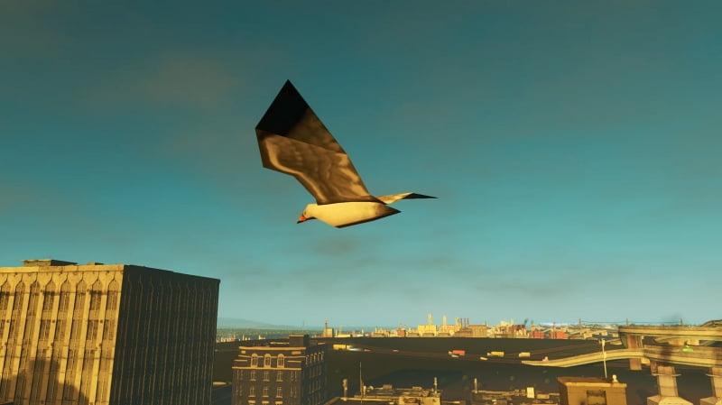 カモメになって空を飛んでいる様子【シティーズスカイライン PS4】