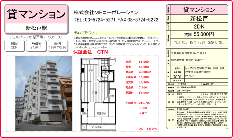 ジュネパレス新松戸第7 501号室