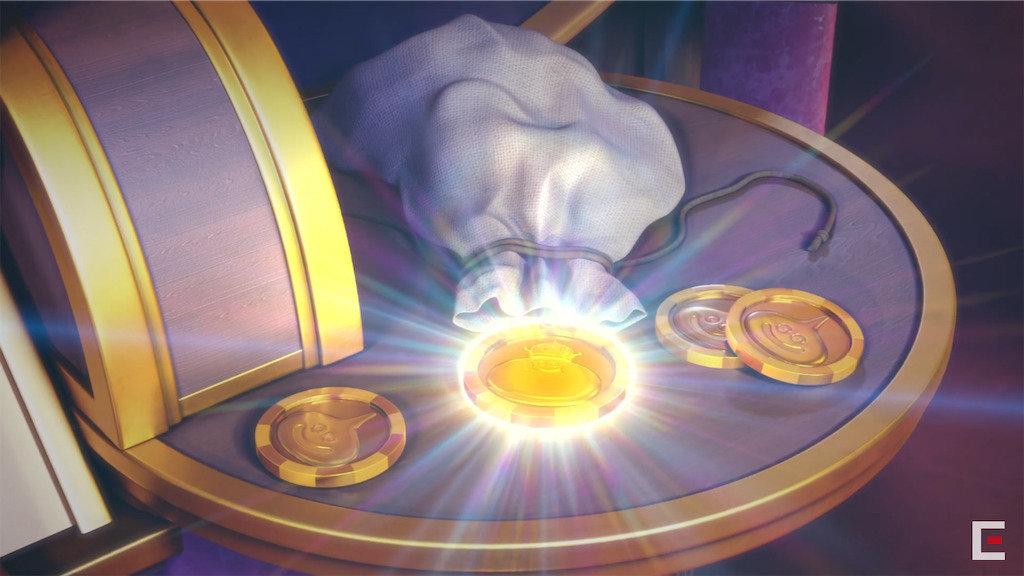 光り輝くコイン