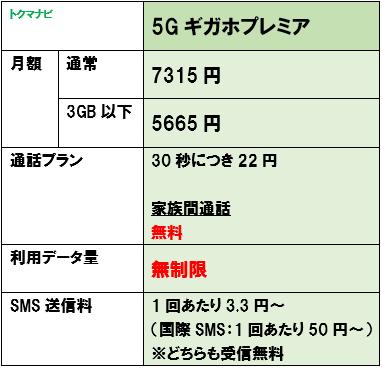 ドコモ 5Gギガホプレミア 月額料金 2021年