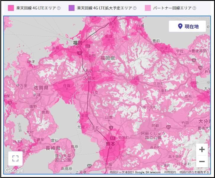 楽天モバイル エリア 4G 福岡 熊本