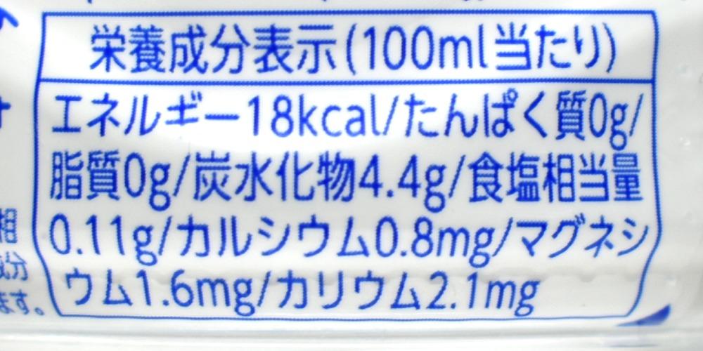 ミウ(MIU)レモン&オレンジの栄養成分表示