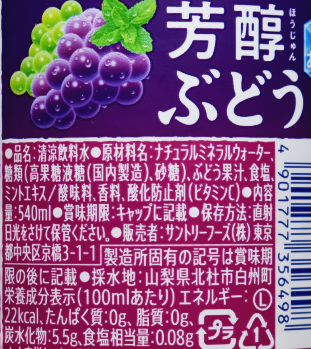 芳醇ぶどう&サントリー天然水,原材料名,栄養成分表示