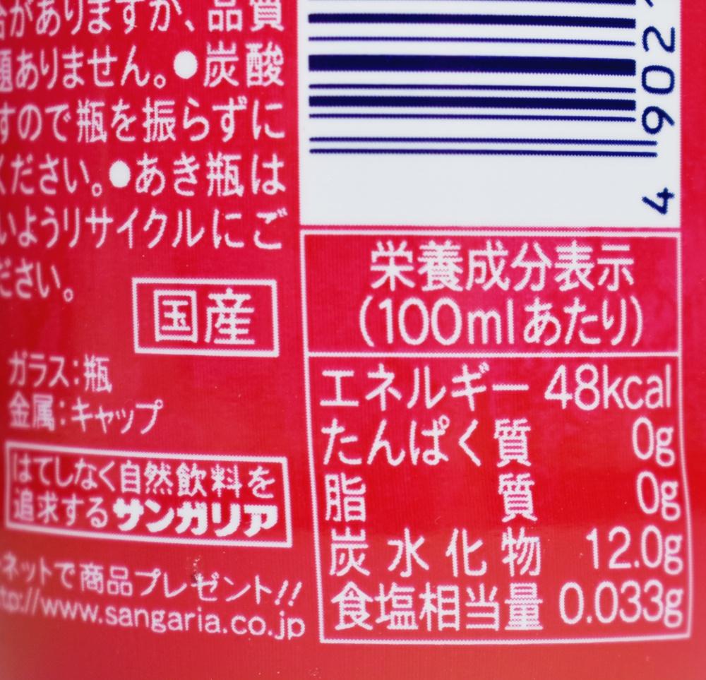 こどもののみもの スパークリング赤,栄養成分表示