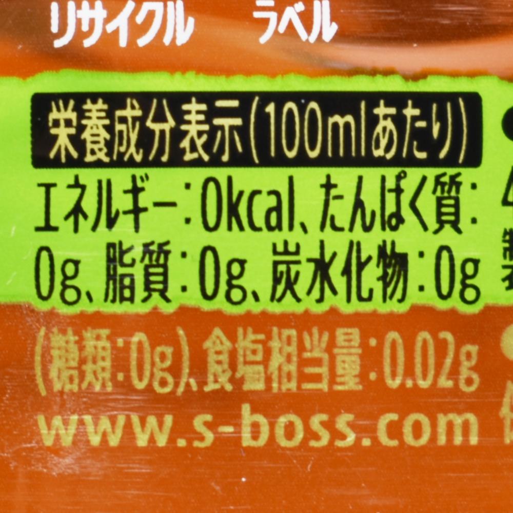 クラフトボス香る無糖紅茶,栄養成分表示