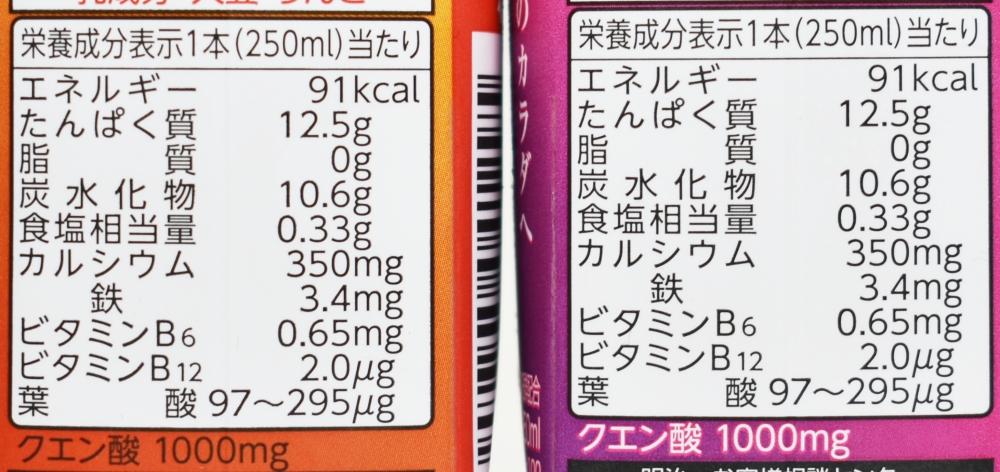 SAVAS for Woman MILK PROTEIN 脂肪0 ミックスベリー風味/ミックスフルーツ風味,栄養成分表示