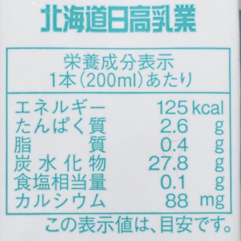 北海道日高乳業ヨーグルッペ,栄養成分表示