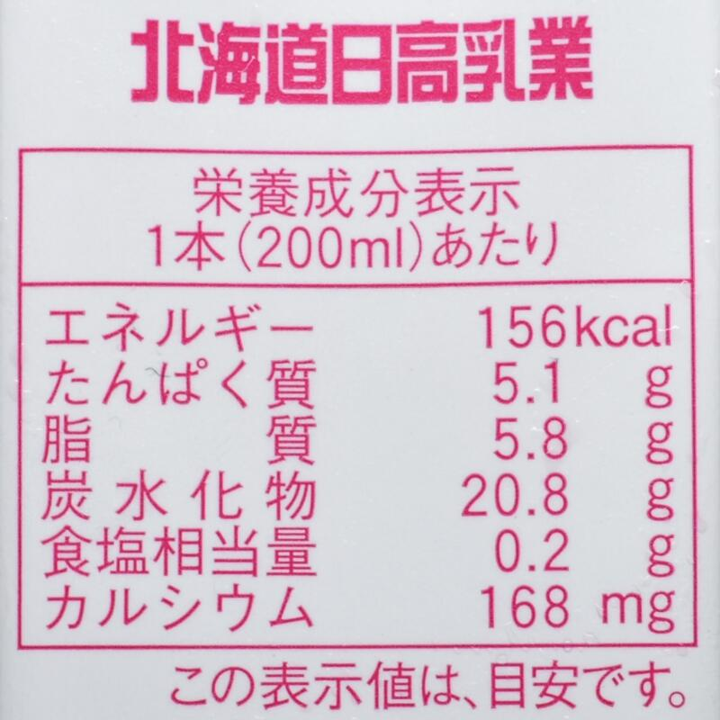 北海道日高いちごミルク,栄養成分表示
