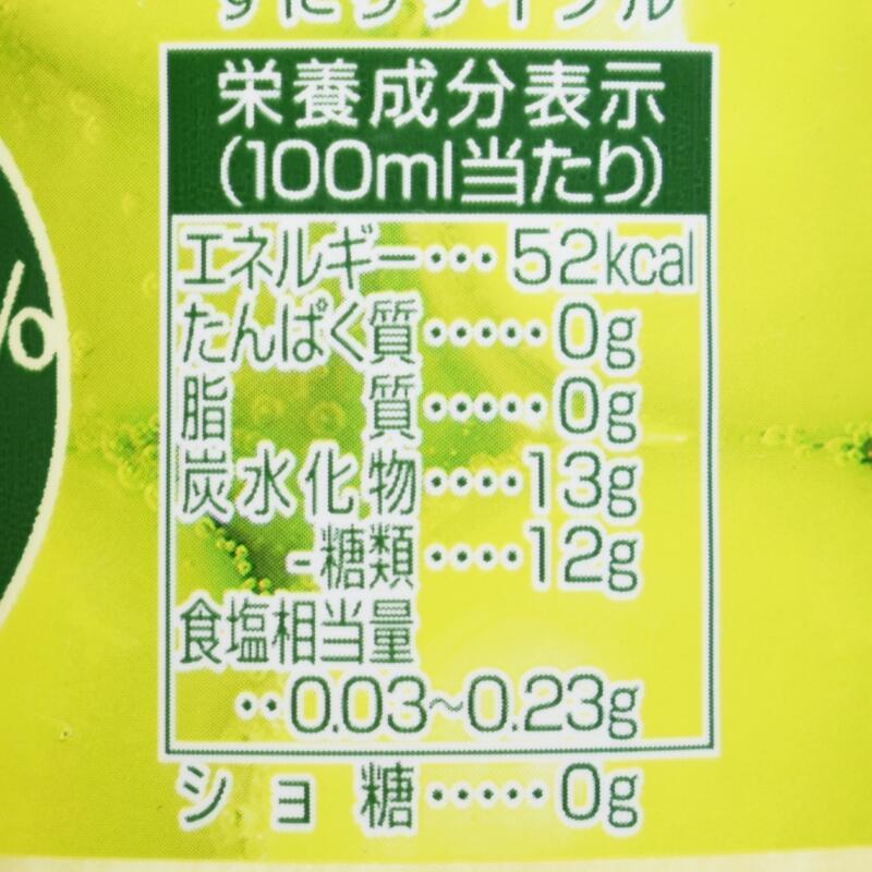 三ツ矢クラフトマスカット,栄養成分表示
