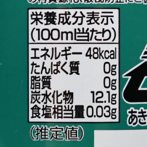 ケロケロソーダの栄養成分表示