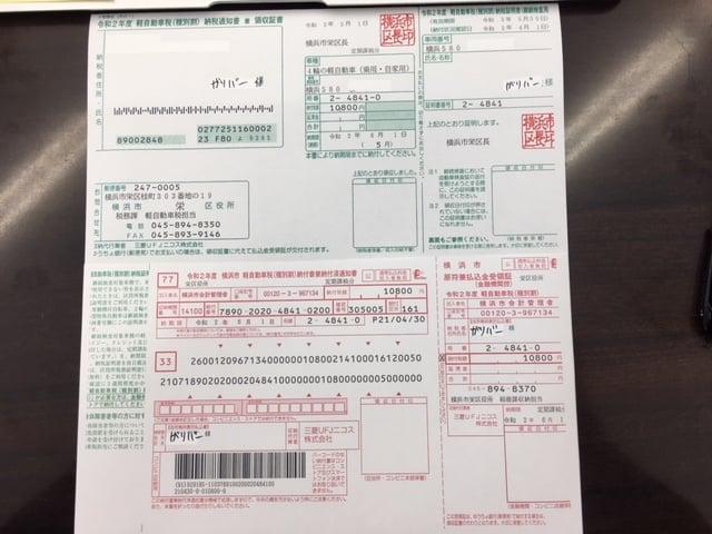 自動車税納付書