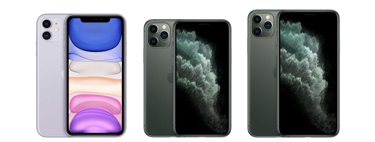左からiPhone 11 ・iPhone 11 Pro・iPhone 11 Pro MAX