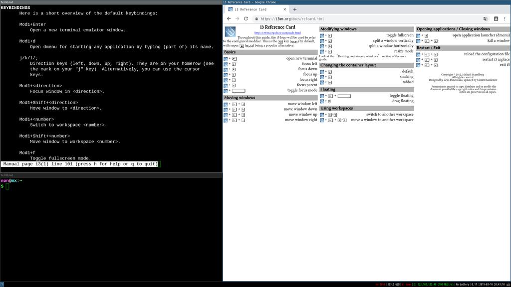 ウィンドウマネージャ i3 (i3-wm) インストール on Mx Linux - Notes