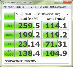 CrystalDiskMark 3.0.1 x64 SSDSA2MH120G2K5 マッハドライブ無(2011.01.12)