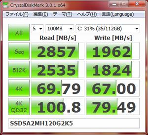 CrystalDiskMark 3.0.1 x64 SSDSA2MH120G2K5 マッハドライブ有(2011.01.12)
