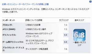 Windows 7 エクスペリエンス インデックス(2011.01.13)