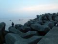 夕暮れの能生漁港