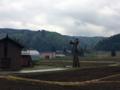 栄村の風景。山間地の里山。