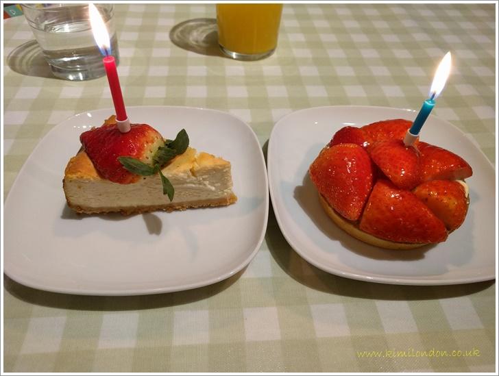 チーズケーキとイチゴタルト