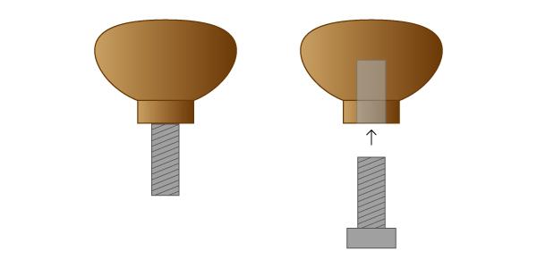 チョークレバーを自作するときに使用するノブの図解