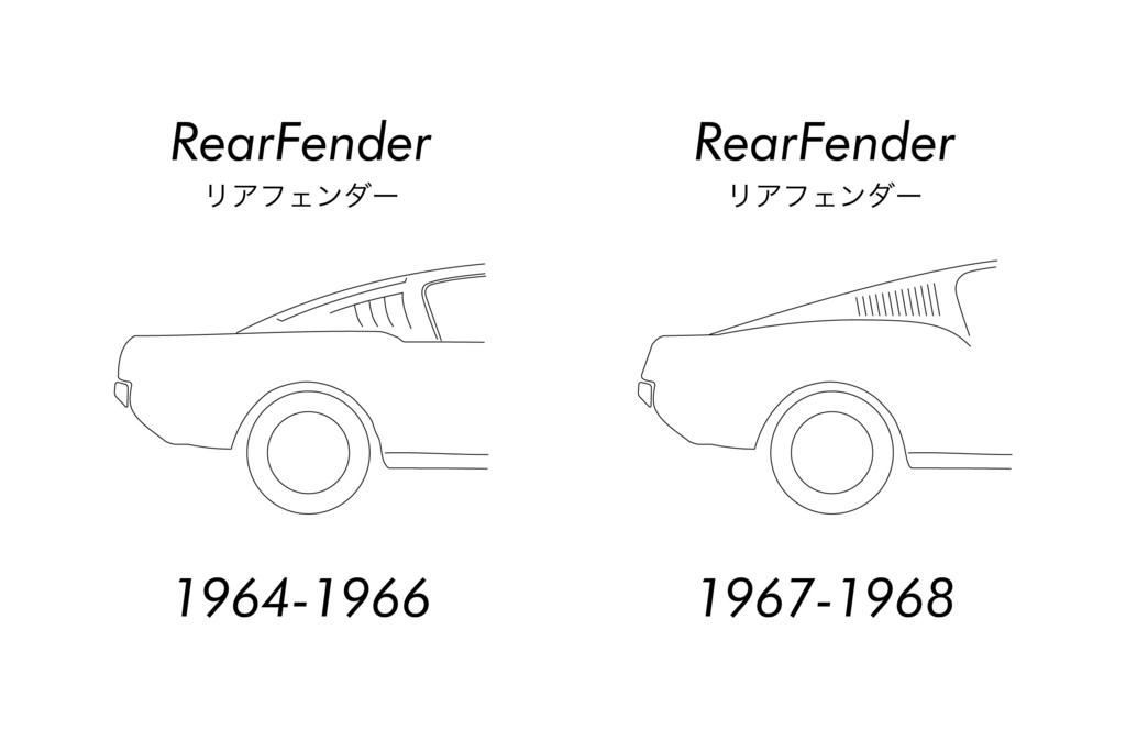 1964年式~66年式マスタングと1967年式~マスタングの見分け方