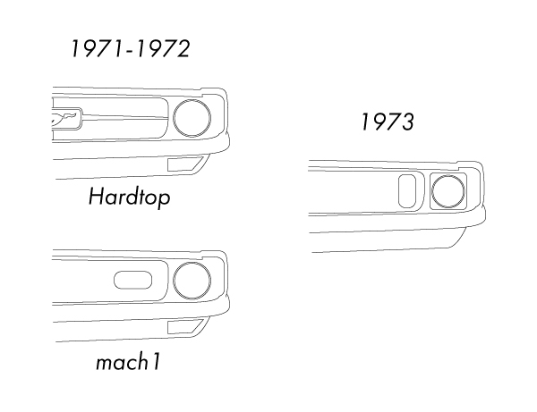 1971年式マスタングと1973年式マスタングの違い