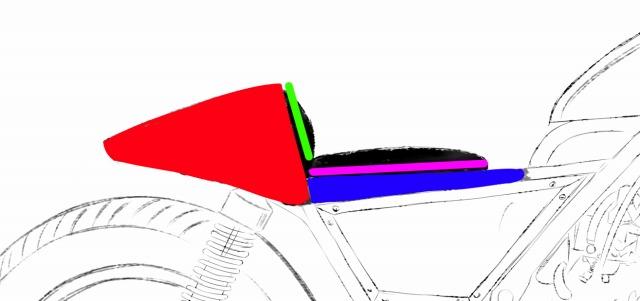 FRP自作シングルシートカウルの分割位置