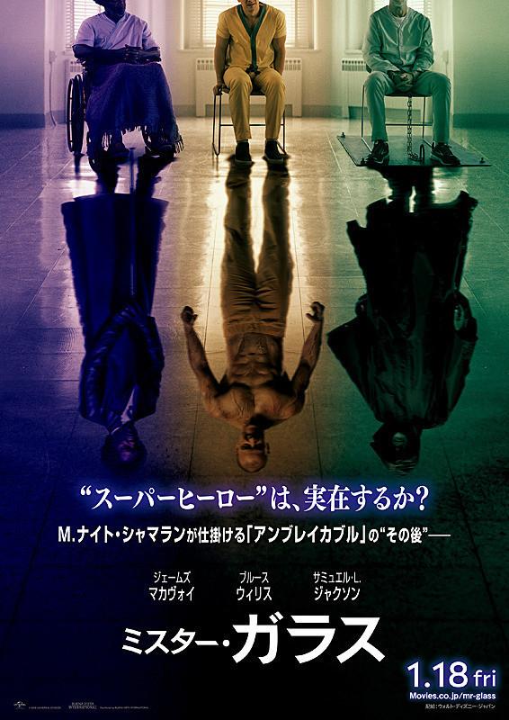 アンブレイカブルとスプリットの続編『ミスター・ガラス』のポスター