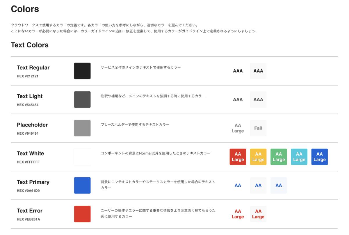 ガイドラインで決められたカラーの表のスクリーンショット