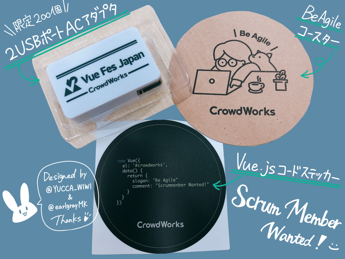 VueFesで配布する2USBポートACアダプタとBeAgileコースター、Vue.jsコードステッカーの三点の写真
