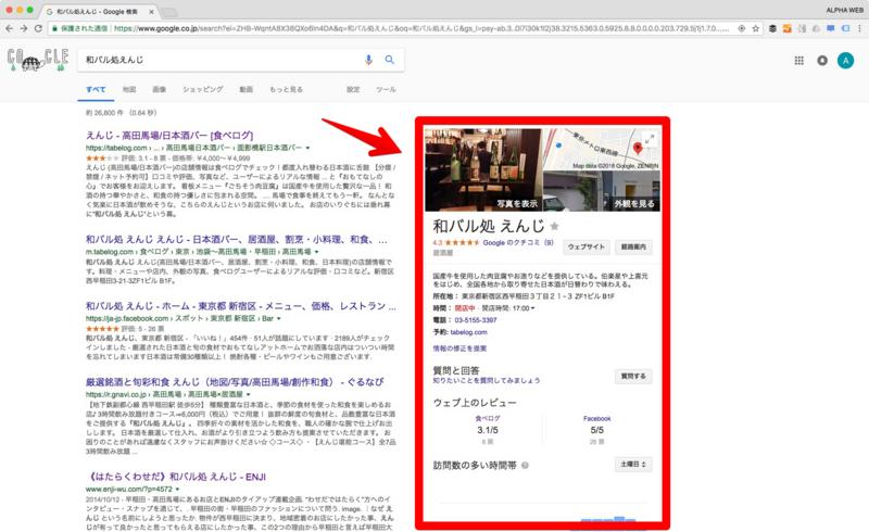 Googleマイビジネスへ登録するとこの場所に掲載される