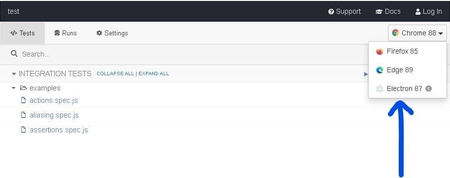 Cypressブラウザ選択画面