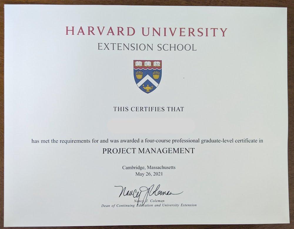Harvard Extension School certificate