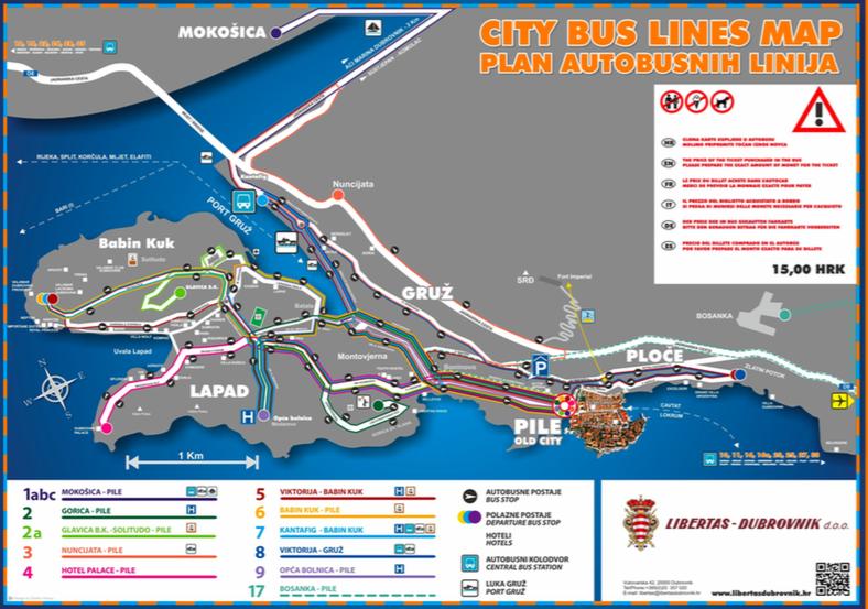 ドブロブニクのローカルバス路線図